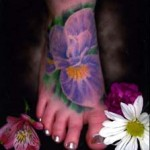 Iris Flower Tattoo on leg