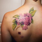 Lilac Flower Tattoo on Back