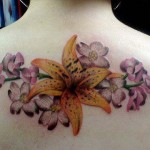 Lily Flower Tattoo on Back