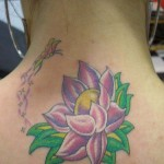 Lotus Flower Tattoo on Neck
