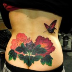 Peonies Flower Tattoo on Back