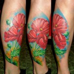 Poppy Tattoo on Leg