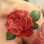Red Rose Flower Tattoo on Shoulder
