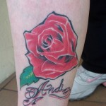 Rose Flower Tattoo on Leg