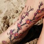 Sakura Tattoo on Leg