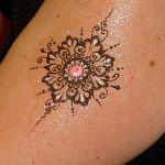 Temporary henna flower tattoos