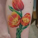 Tulip Tattoo on Leg