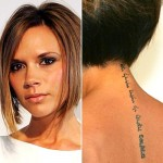 Victoria Beckham Tattoo on Neck