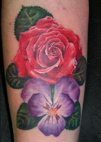 tattoos of violet flowers