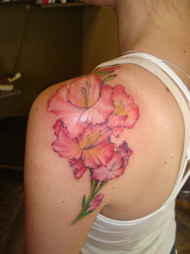 flower tattoo on shoulder. Black Bedroom Furniture Sets. Home Design Ideas