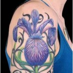 Iris Flower Tattoo on shoulder