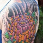 Japanese Flower Tattoo on shoulder