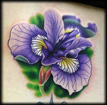 purple iris flower tattoo
